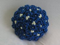 ARTIFICIAL WEDDING FLOWERS IVORY / ROYAL BLUE FOAM ROSE BRIDE WEDDING BOUQUET